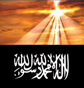 Above, the cross symbolizes the Kingdom of God, below, the flag of the Khilafah, or Islamic state. One is a kingdom of Light, the other, a kingdom of darkness.
