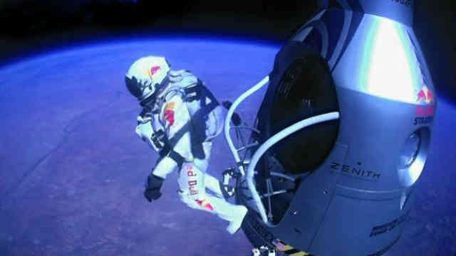 Baumgartner jumps and leaves his capsule for the highest freefall ever