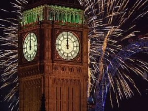 Big Ben, London, with the new year's fireworks in the background.