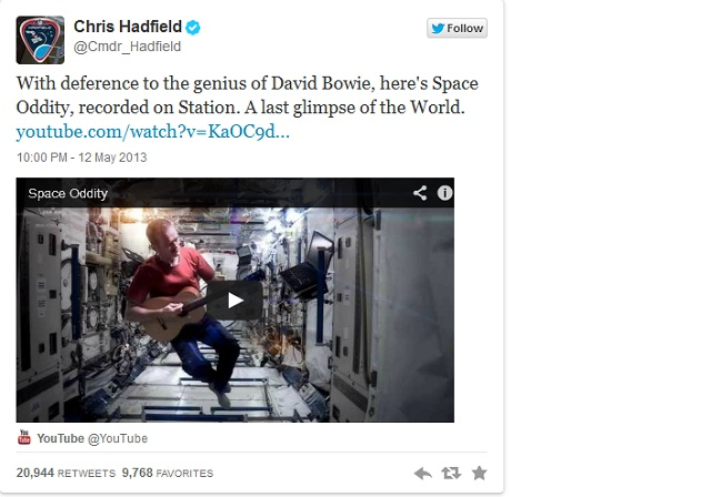 Chris Hadfield tweeted 'With deference to the genius of David Bowie, here's Space Oddity, recorded on Station. A last glimpse of the World. '