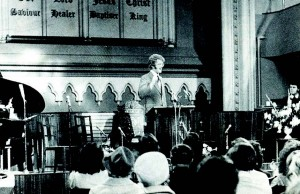 Lyndon Bowring conducting a service in KT in 1971
