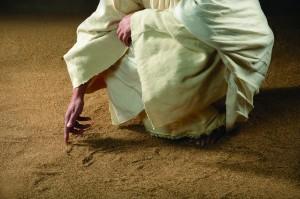 Jesus writes on sand