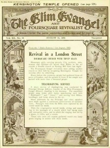 The Elim Evangel wrote about the reopening of the building after renovation in the issue of 21st August 1931.  ?The service, which was conducted by Principal George Jeffreys, our beloved leader, was timed to commence at 7.30pm, but hours before that time the crowds began to gather until there as around the building numbering was something like fifteen hundred happy, smiling, and enthusiastic folk waiting to get in for the opening service? Then the congregation moved inside, sitting and standing in the passage of a church which had tip-up seats and emergency exits, and in which the singing was led by a piano, a violin, and a cornet.?