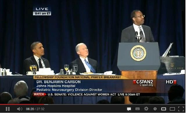 Neurosurgeon Ben Carson's Politically Incorrect Speech at Prayer Breakfast a YouTube Sensation