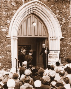 Eldoin Corsie leads the congregation back into Kensington Temple in 1965.