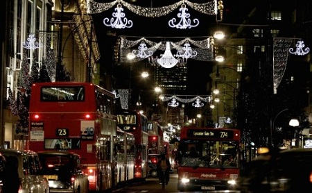 The Christmas lights on Oxford Street, London.
