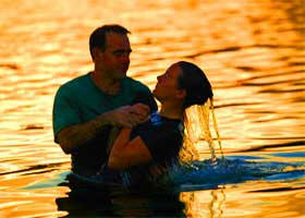 The baptism by full immersion