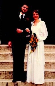 Colin and Amanda on the steps of KT on their wedding day 1979