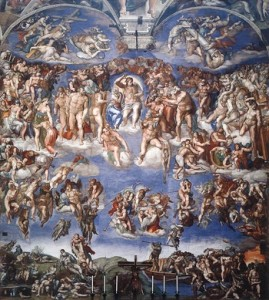 This work is is massive and spans the entire wall behind the altar of the Sistine Chapel. It is a depiction of the second coming of Christ and the apocalypse. The souls of humans rise and descend to their fates, as judged by Christ surrounded by his saints. By Michaelangelo.